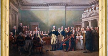 "This image, courtesy of the Architect of the Capitol, depicts John Trumbull's 1824 painting entitled ""General George Washington Resigning His Commission."" The painting now hangs in the US Capitol Rotunda."