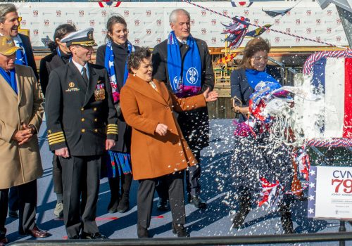 Properly Christened, next Ford-Class Carrier John F. Kennedy Hits Construction Home Stretch