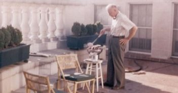 President Eisenhower barbecuing in the White House Solarium