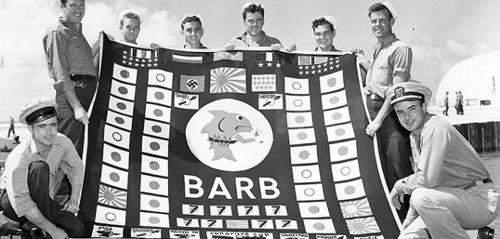 Team from USS Barb that landed at Karafuto, Japan, setting charges that destroyed a Japanese troop train. The attack was the only ground attack on Japan's home islands during World War II.